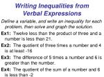 writing inequalities from verbal expressions