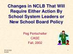 changes in nclb that will require either action by school system leaders or new school board policy
