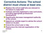 corrective actions the school district must chose at least one