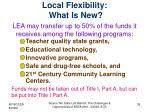 local flexibility what is new