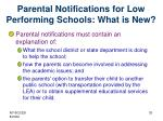 parental notifications for low performing schools what is new