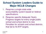 school system leaders guide to major nclb changes