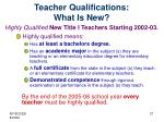 teacher qualifications what is new