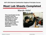 most lab sheets completed
