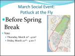 march social event potluck at the fly