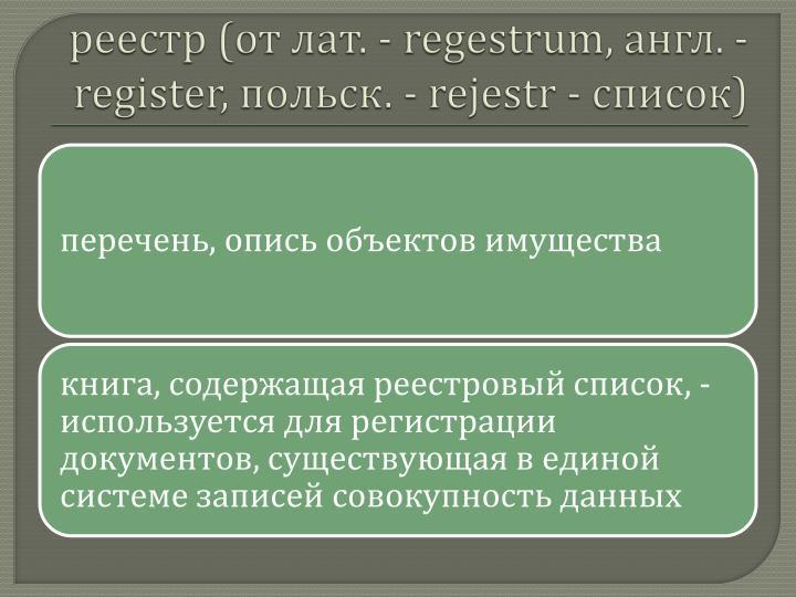 реестр (от лат. -
