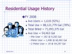 residential usage history