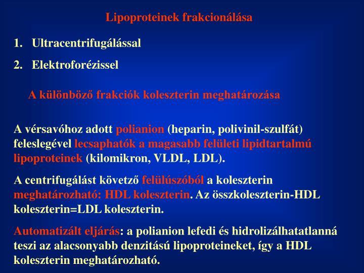 Lipoproteinek frakcionálása