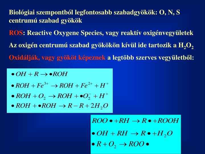 Biológiai szempontból legfontosabb szabadgyökök: O, N, S centrumú szabad gyökök