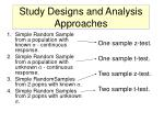 study designs and analysis approaches