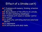effect of a stroke con t
