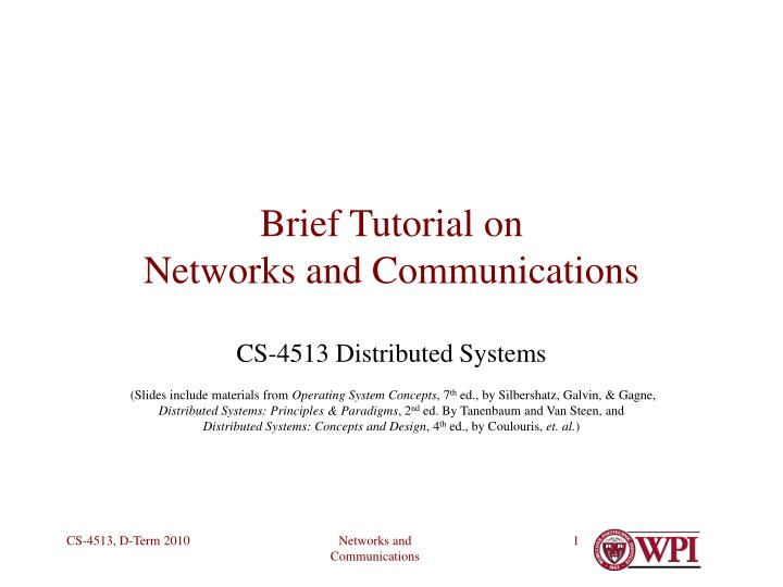 brief tutorial on networks and communications n.