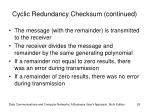 cyclic redundancy checksum continued