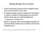 sliding window error control
