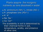plants acquire the inorganic nutrients as ions dissolved in water