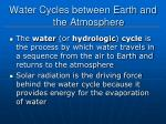 water cycles between earth and the atmosphere