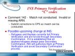 ins primary verification c codes1