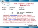 non verifiable numeric reject codes