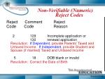 non verifiable numeric reject codes1