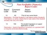 non verifiable numeric reject codes4