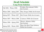 draft schedule long term solution