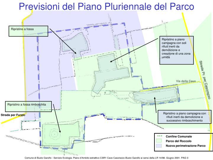 Previsioni del Piano Pluriennale del Parco