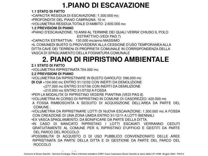 1.PIANO DI ESCAVAZIONE