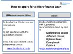 how to apply for a microfinance loan