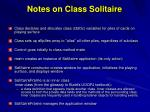 notes on class solitaire