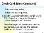 credit card sales continued