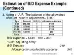 estimation of b d expense example continued1