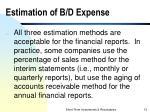 estimation of b d expense1