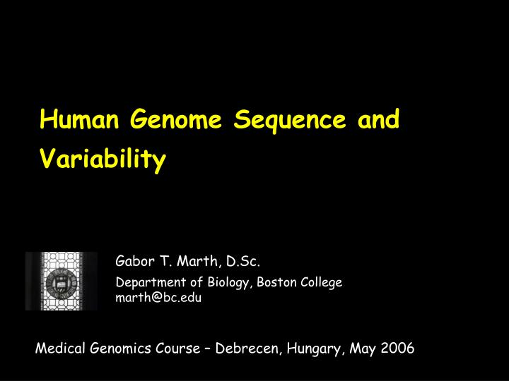 human genome sequence and variability n.