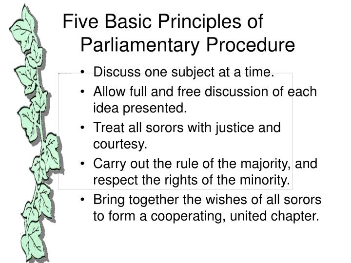 an introduction to the parlimentary procedure Parliamentary procedure is the name given to a set of rules governing the decision making process used by a deliberative assembly individuals proficient in the process of parliamentary procedure are called parliamentarians.