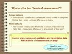 what are the four levels of measurement