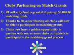 clubs partnering on match grants