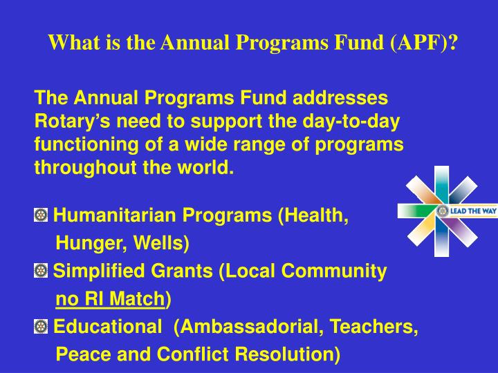 what is the annual programs fund apf n.