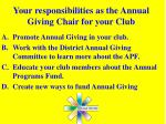 your responsibilities as the annual giving chair for your club