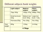 different subjects book weights