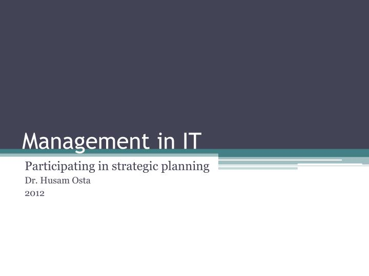 management in it n.