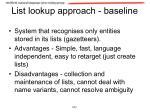 list lookup approach baseline