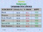 district subgroups language arts literacy