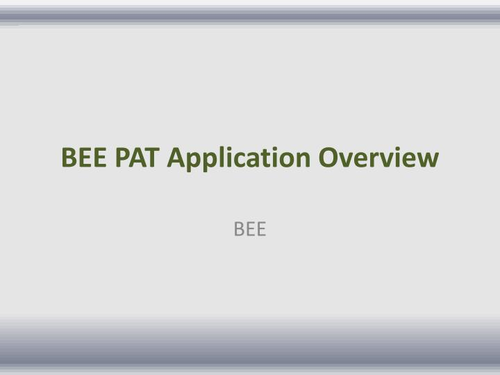 bee pat application overview n.