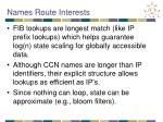 names route interests