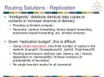 routing solutions replication