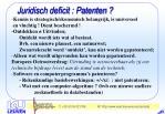 juridisch deficit patenten