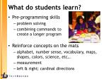 what do students learn
