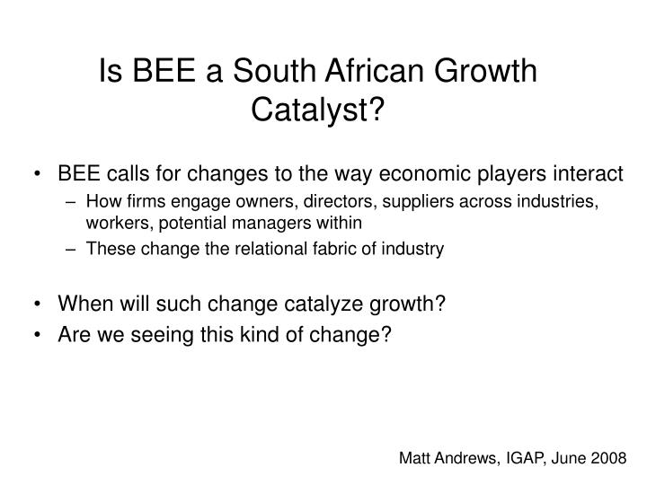 is bee a south african growth catalyst n.
