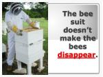 the bee suit doesn t make the bees disappear