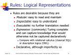 rules logical representations